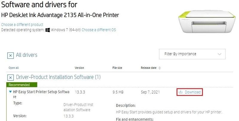 Download the HP DeskJet Ink advantage 2135 Driver