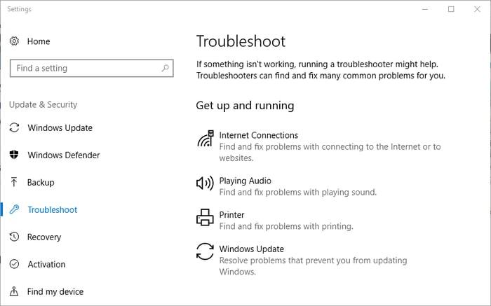 Select Troubleshoot Program in Windows Setting