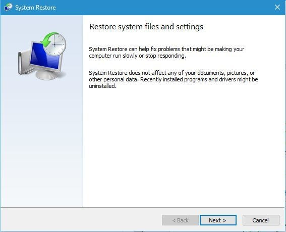 Click on the Next button for System Restore