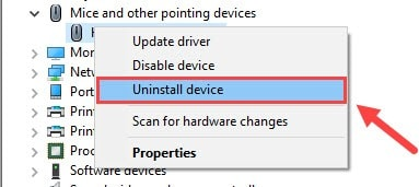 Uninstall Mice and Other Pointing Device