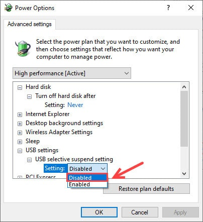 Disable USB selective suspend settings from power options