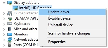 Right Click on Display Adapter and Click On Update Driver