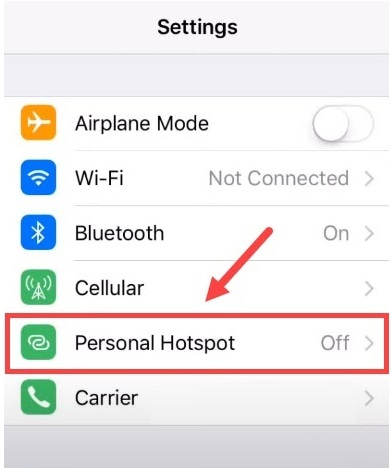 Turn off Personal Hotspot from the iPhone Device Setting
