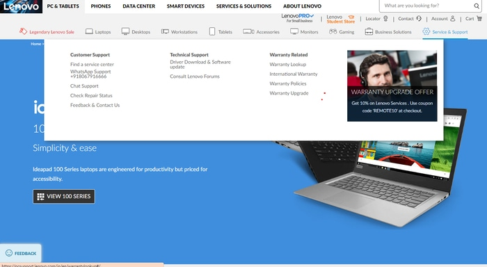 Service & Support Menu From Lenovo Official Site