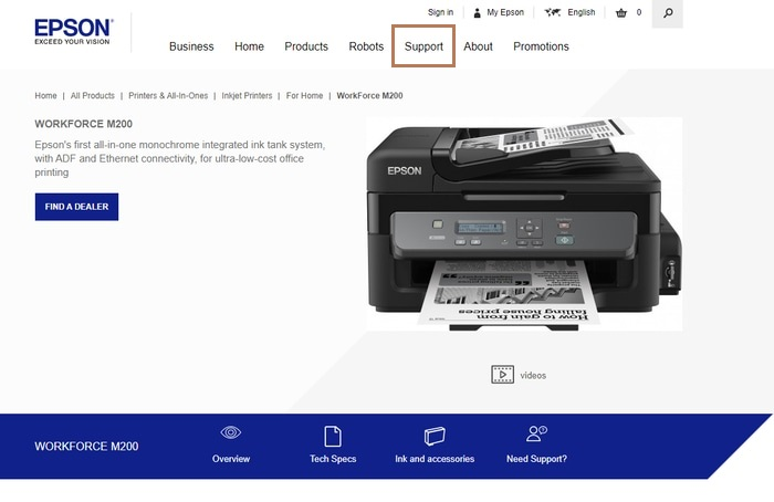 Click on the Support Tab in Epson Official Website
